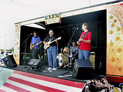 Bob Christensen, Mark Dodge, Roger Ludwick, and Kevin Miller at the Stanwood-Camano Music Festival show, Sept. 7, 2002